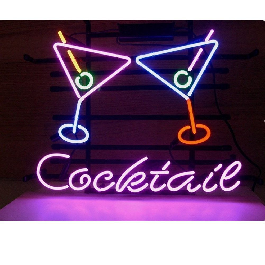 Cocktail Martini Real Glass Neon light Sign Beer Bar Pub Store Club Garage Home Party Light Sign 19x15 Inches