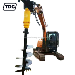 Hydraulic ground hole auger digger, earth auger attachment for backhoe loader, skid steer loader