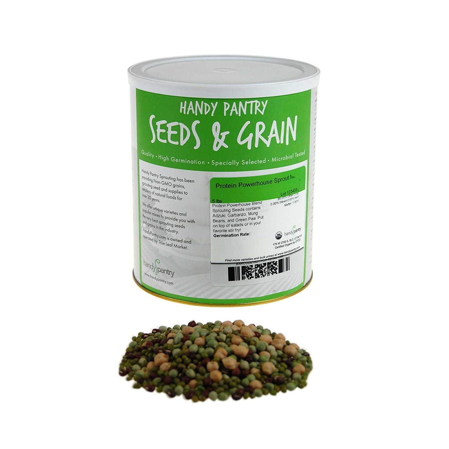 Handy Pantry Protein Powerhouse Sprouting Seed Mix: 5 Lb - Organic, Non-GMO - Sprouting Sprouts, Food Storage. High Protien Sprouts - Pea, Mung, Green Pea, Adzuki