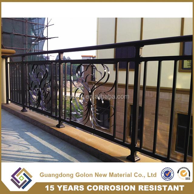 GOLON Factory Sale Outdoor Wrought Iron Stair Railing, Balcony Railing Parts  For Veranda