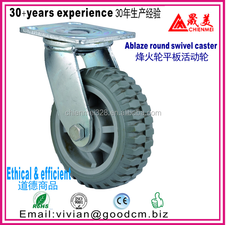 PP+PU gray ablaze round plastic swivel caster from 4 inch to 8 inch max loading 250kgs