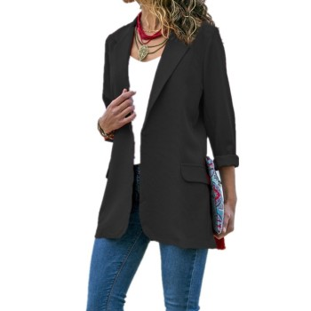 Office Work Jacket Women Three Quarter Sleeve Slim Formal Business Coat Solid Womens Jackets and Coats Suit Veste Femme