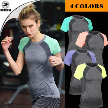Hit color sleeves dry clothes fitness yoga clothes women shirt tight sweat sweat running suit sports T-shirt short sleeve WA11