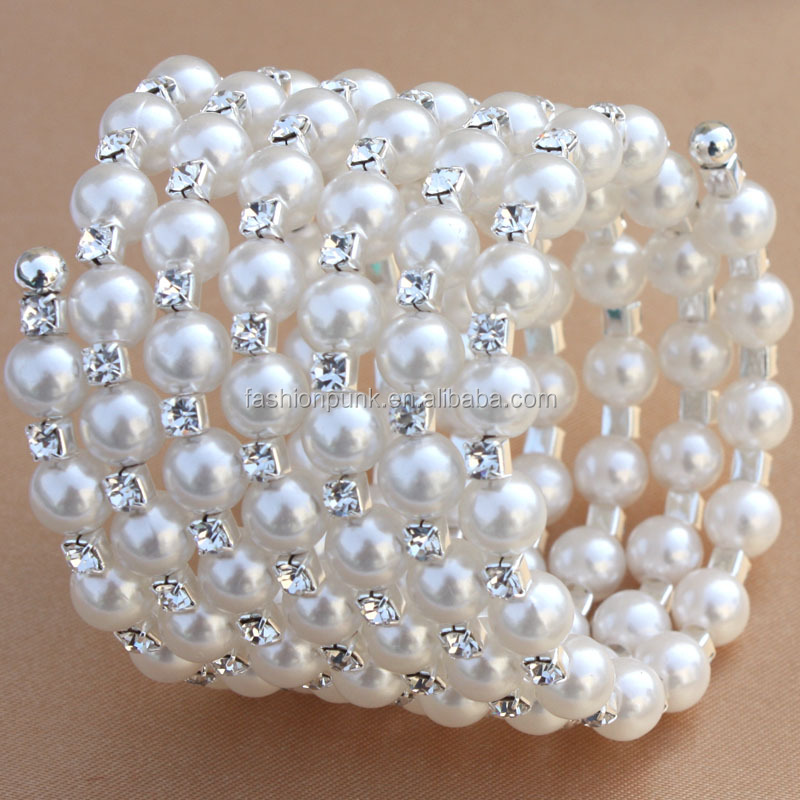 Pearl Rhinestone Crystal Stretch Cuff Bangle Spiral Wedding Bridal Arm Bracelet