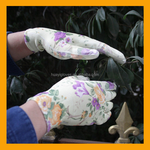 HUAYI GLOVE Ladies PU Hand Gloves Flower Print PU Coated Workplace Gloves