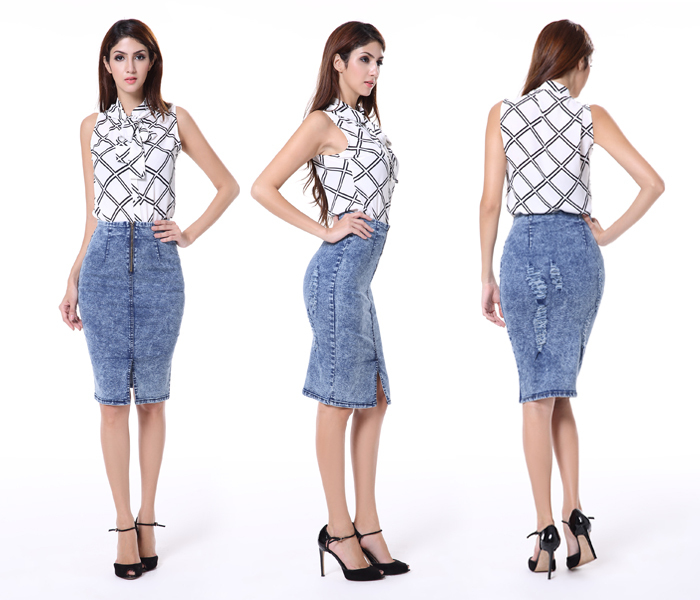 New Fashion Women's Pencil Skirt Denim Slim Fit Button Up Long ...
