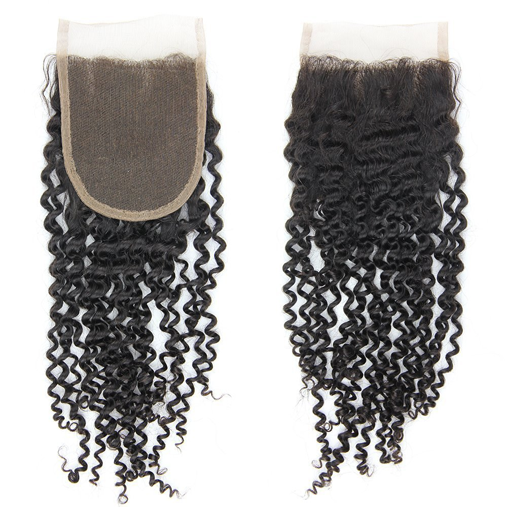 "Top Quality 100% Raw Virgin Hair; A+ Peruvian Human Kinky Curly Hair 1 Pcs Lace Closure (4*4) ;35g 8"";10"";12"";14"";16"";18"" Closure; Natural Black 1b (14)"