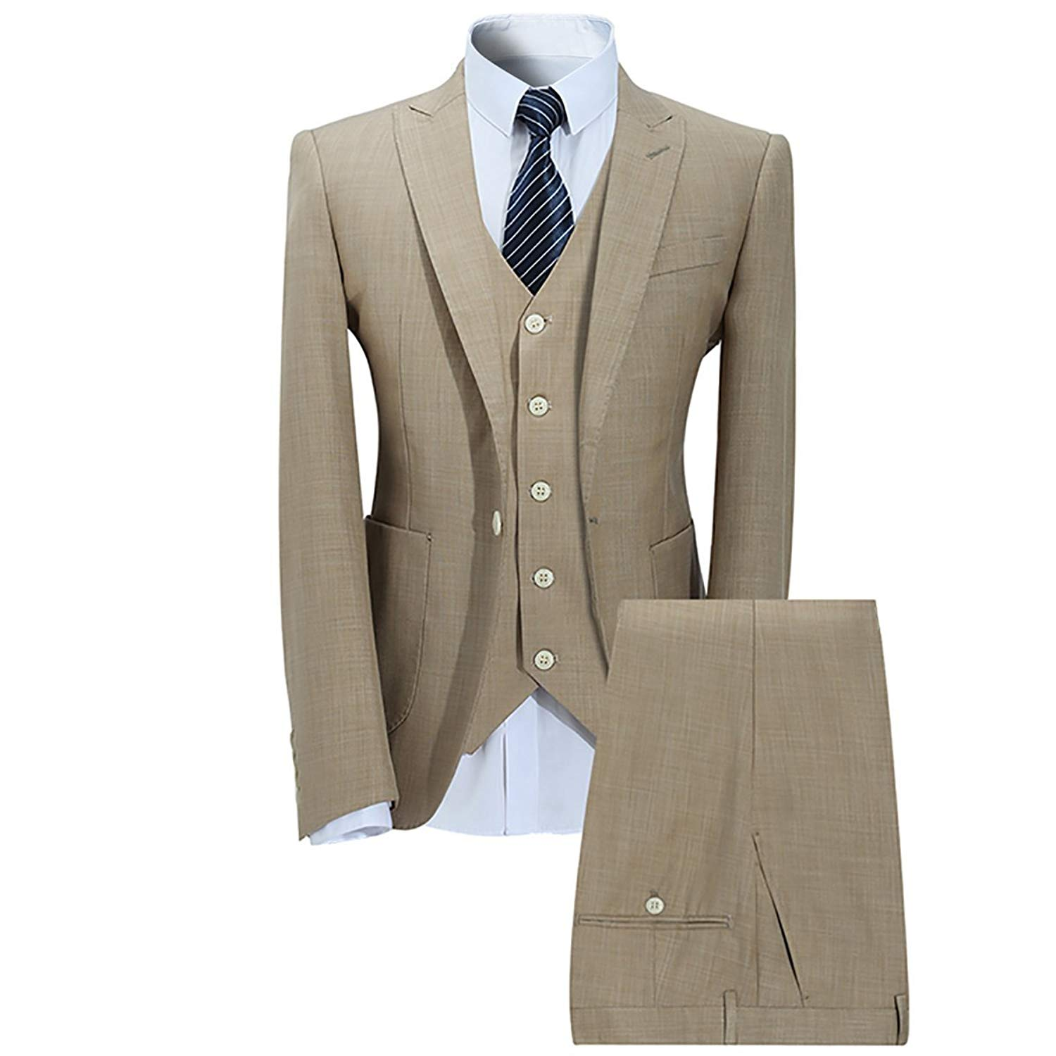 Mens 3 Piece One Button Weeding Casual Slim Fit Dress