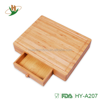 Organic Vegetable Bamboo Cutting Board With Drawer Storage