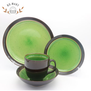 All-New Stoneware Reactive Glaze Dinner Plates Green Stoneware Dinnerware