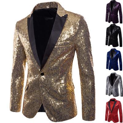 สไตล์การออกแบบ Sequins ผู้ชาย Blazer แจ็คเก็ตโฮสต์ Party Performance สูท