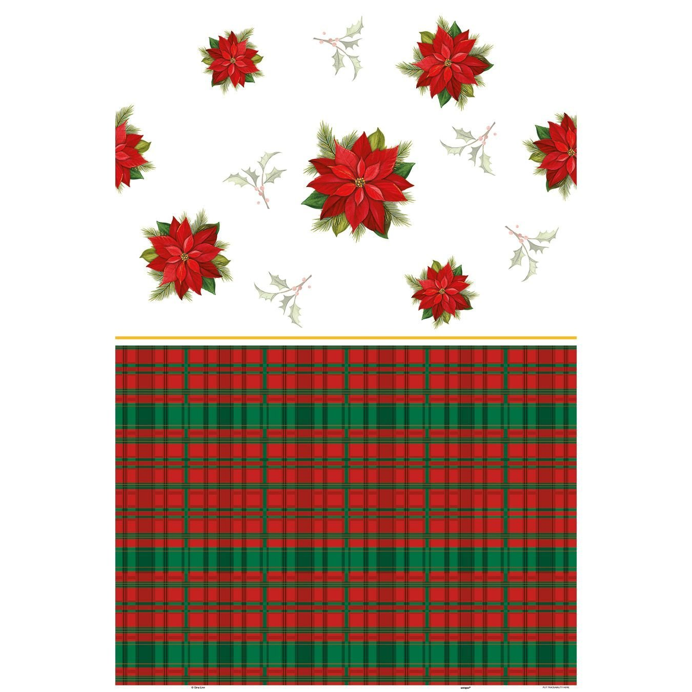 Get Quotations · Poinsettia Plaid Holiday Plastic Tablecloth, ...