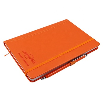 High End Hardcove Custom A5 Leather Notebook With Elastic Band