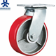 Industrial heavy duty PU Cast Iron caster and wheels with Double ball bearing