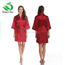 customize embroidered or printed logo satin kimono bridesmaid robe