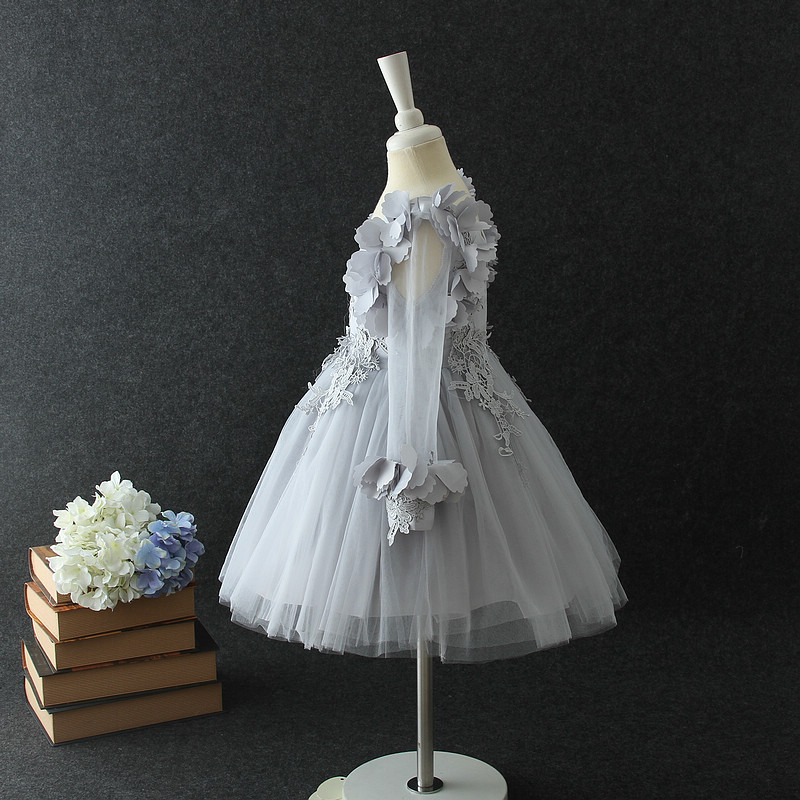 9808c15c194 New Spring Fall Winter Long sleeve children dresses Vietnam baby girls  flower party dress ball gowns