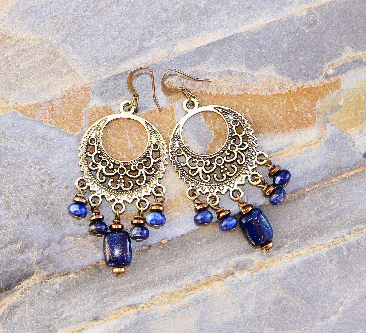 Bohemian Earrings, Lapis Lazuli Earrings, Brass Earrings, Chandelier Earrings, Handmade Earrings, Fall Earring, Gypsy Earrings, Blue Earring