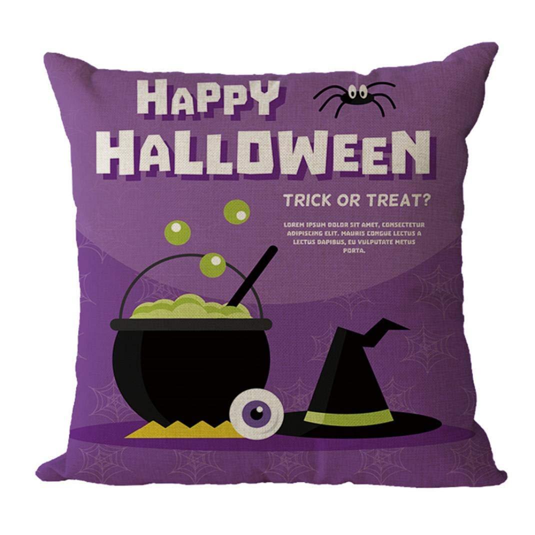 MaxFox Happy Halloween Geometric Design Throw Pillow Cover 18 x 18 Inch Cotton Blend Pillow Cover for Sofa Bedroom Car Decor