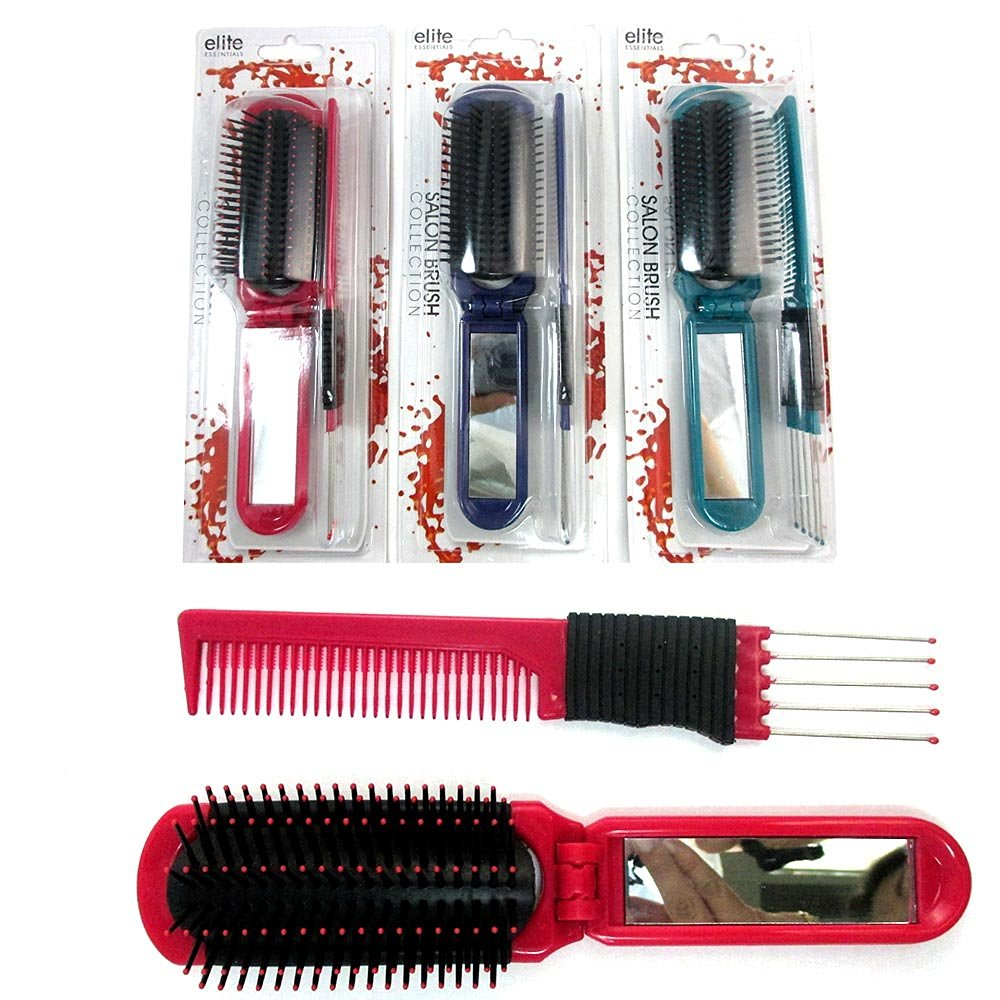 Folding Hair Brush With Mirror Comb Pick Set Compact Pocket Size Travel Purse