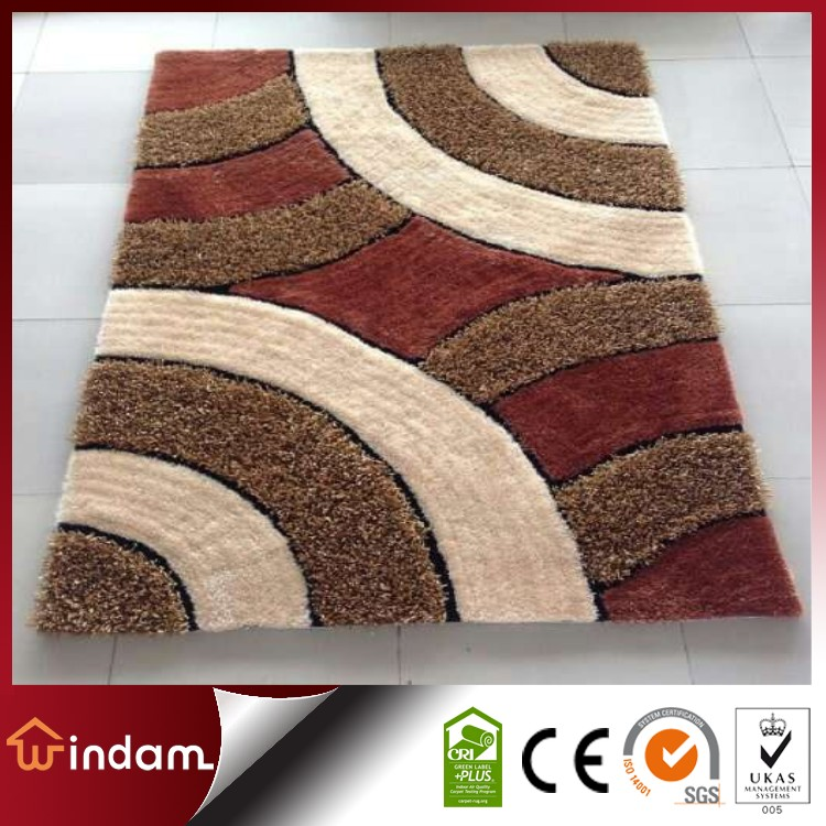 Anti-dust rainbow design polyester modern shaggy carpet