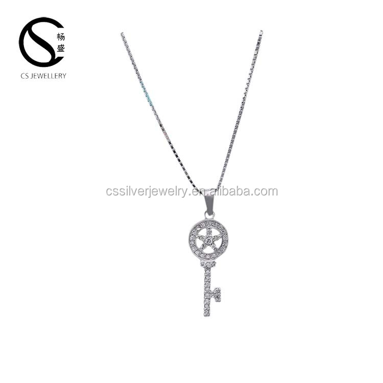 Women necklace jewelries Silver 925 key pendant
