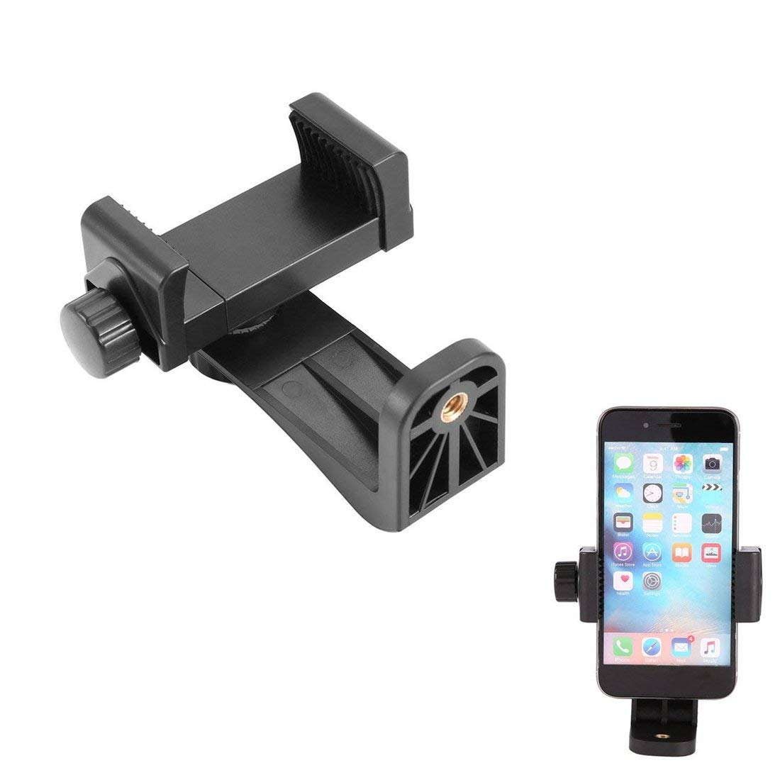 Universal Tripod Mount Clip Vertical Bracket Holder 360 Adapter for Cell Phone Fits All Phones, Rotates Vertical and Horizontal, Adjustable Clamp Cell Phone Holder Mount Adapter