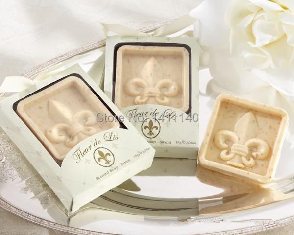 Wedding Gifts Wholesale: Free Shipping 10pcs Wholesale Fleur De Lis Scented Soap