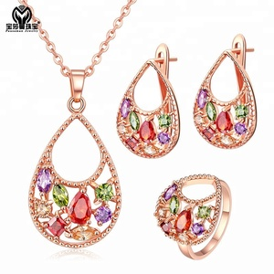PSM Wholesale stylish rose gold filled jewelry with 3 colors gems cubic zirconia jewelry set bridal jewellery set