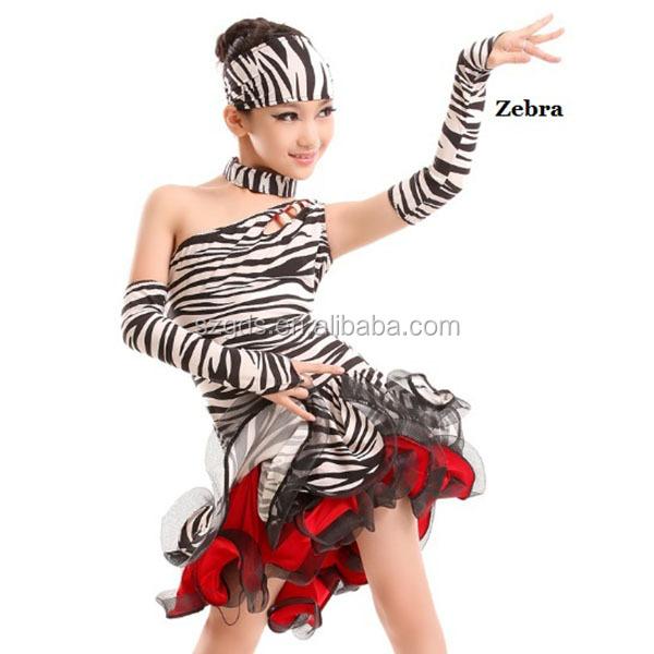 59211a1b99ed 2017 Childrens Latin Salsa Ballroom Dance Dress Girls Dancewear