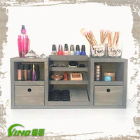 Handmade brush makeup station display wooden stand,makeup beauty organizer showcase,tabletop cosmetic storage with drawer