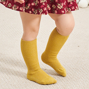 spring metallic yarn shining colorful infant warm legging baby girls knee high socks