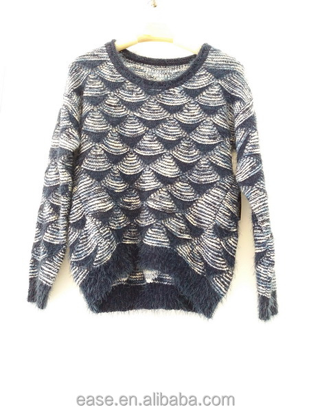Simple design fall women computer knitted sweater for cold weather