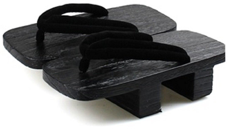 10.5 MIZUTORI Western Style Unisex Geta Sandal Hibinokodue with a Large Black Leather Strap