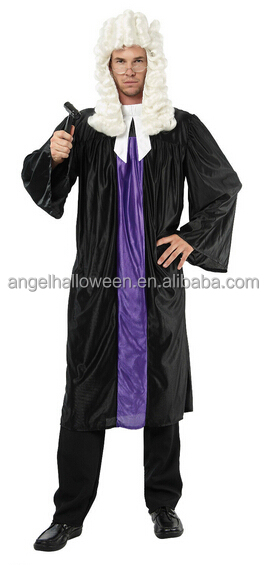 New Adult Mens Court Barrister Lawyer Judge Gown Robe Fancy Dress halloween Costume men Outfit AGM4212