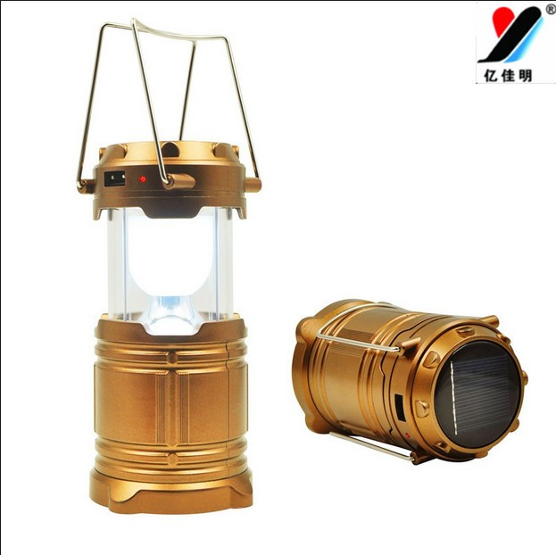 New Solar Camping Lamp LED Camping Lantern Stretchable Folding Tent Emergency Lantern Lamp US Soldiers with Black Color