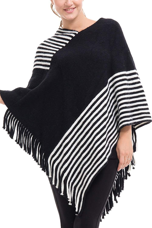 Viottis Women's V-Neck Tassel Hem Pullover Knit Sweater Poncho Cape Shwal