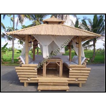 Pavilion Mit Tische Und Vorhange Hochwertigem Holz Bambus Pavillon