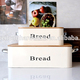 Food grade powder coating cream square kitchen storage bin metal bread box with bamboo lid