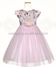 Soft Textile Baby Girl Party 100% Polyester Dress Pictures Cutting Children Frocks Design