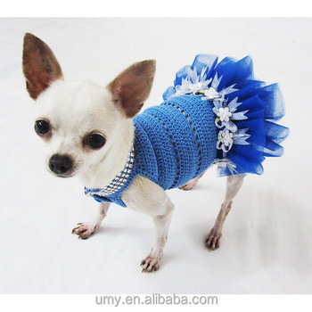 Blau Hund Tutu Kleid Häkeln Bling-bling Handgemachte Gehäkelte ...