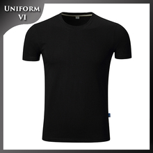 black slim fit t-shirt organic cotton screen printing uniform work staff t shirt design wholesale