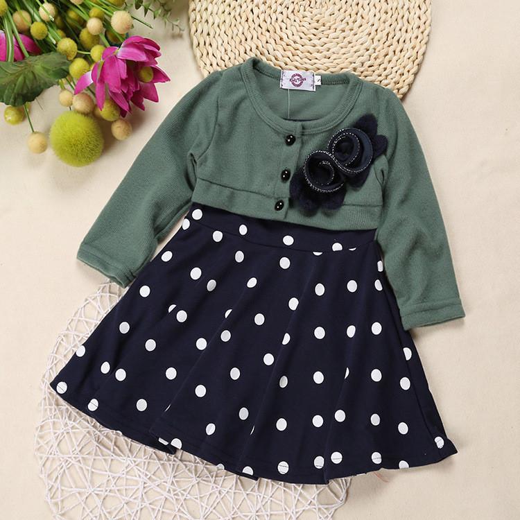 124c2cfcc 2019 Wholesale Baby Girl Dress Princess Autumn Dots Dress Wedding ...