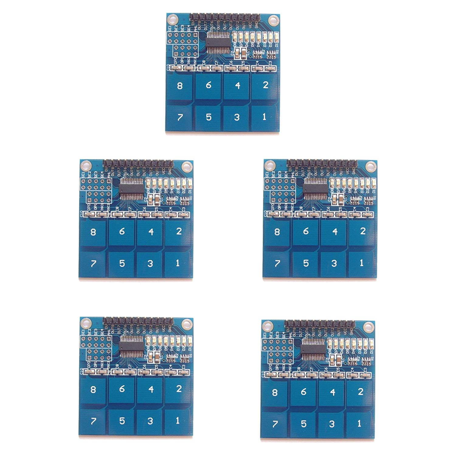 Optimus Electric 5pcs TTP226 Capacitive Touchpad Sensor Key Switch Module Board with 8 Channels and Indicator LEDs from