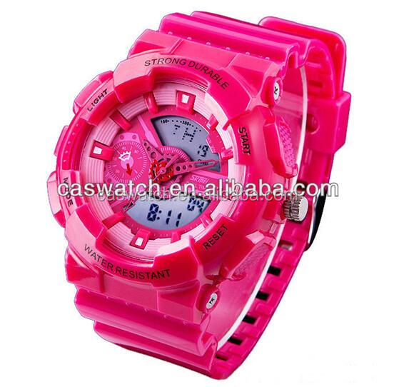 2016 Western style LED multifunctional sport watches lady with Japan quartz analog and China digital movement