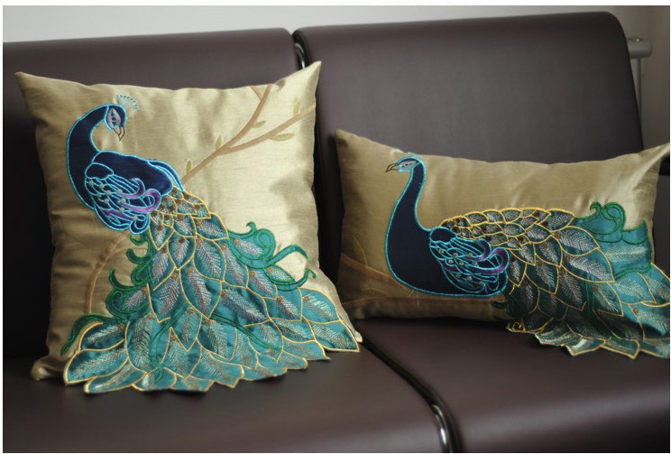 luxury Handmade sequins peacock cushion Faux Silk Decorative Embroidery cushions Home Decor Sofa pillows