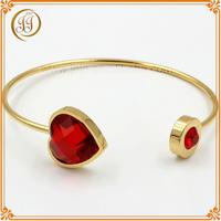 China Steel Bracelet Jewellery Stylish Ruby Diamond 14k Gold Cuff Bracelet