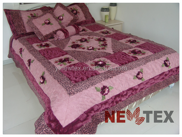 Ribbon Embroidery And Applique Velvet Bedspread Set Rural ...