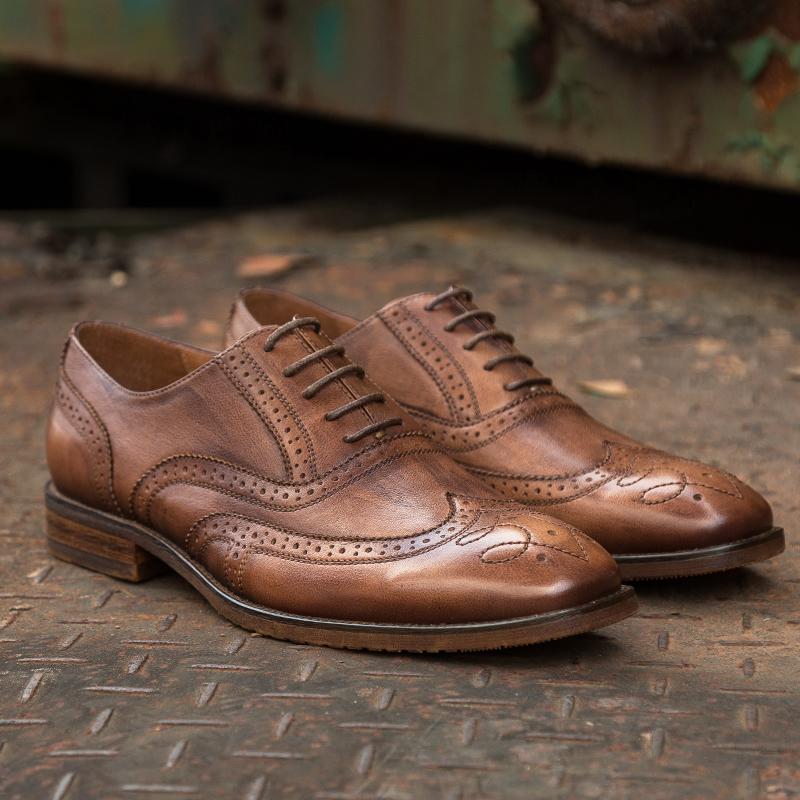 KRUSDAN sole brogues fashion Brand casual genuine shoes Oxford leather RHnqRrZPA