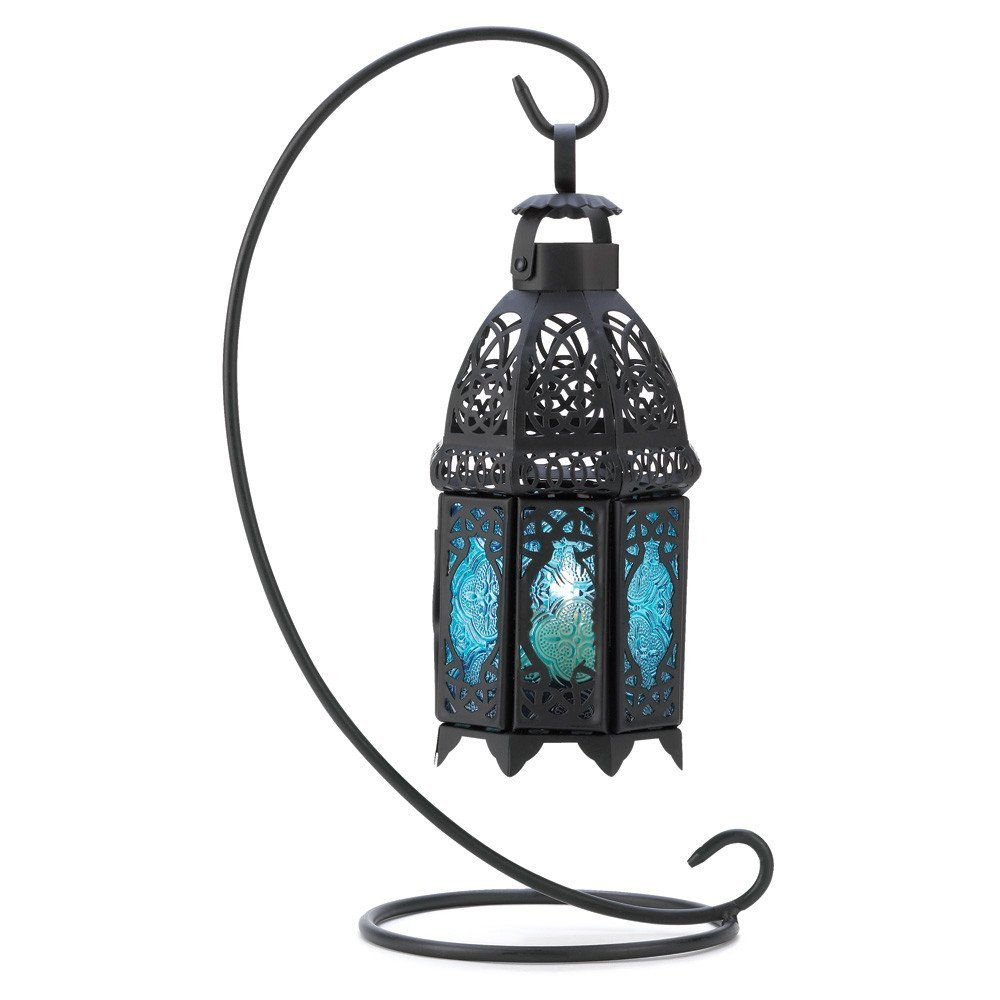Get Ations Sapphire Blue Tabletop Candle Holder Lantern