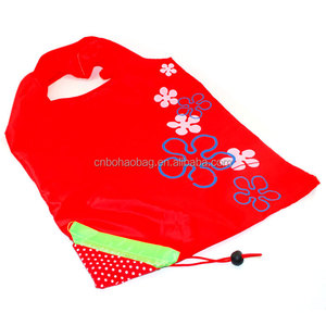 Recycle promotion strawberry foldable Polyester bag
